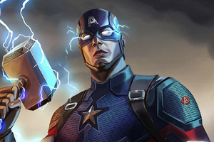 Captain America Mjolnir Artwork Wallpaper