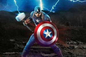 Captain America Mjolnir Avengers Endgame 4k Artwork