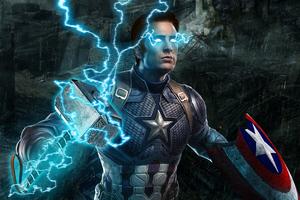 Captain America Mjolnir Avengers Endgame 4k