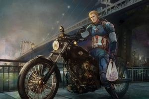 Captain America On Bike Back From Work Art