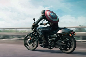 Captain America On Harley Davidson Motorcycle Artwork