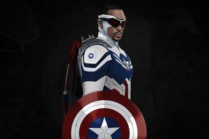 Captain America Sam Wilson Minimal 5k Wallpaper