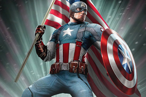 Captain America With Flag 4k