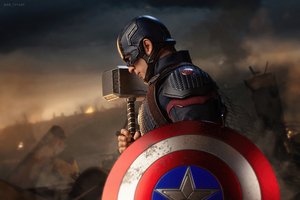 Captain America With Hammer And Shield Wallpaper