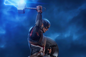 Captain America With Lightning Hammer 4k Wallpaper