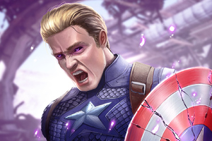 Captain America With Power Stone Wallpaper