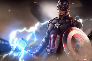 Captain America With Thor Hammer 4k
