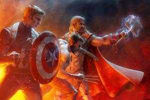 Captain America Wolverine Thor