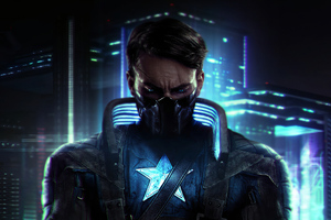 Captain America X Cyberpunk Wallpaper