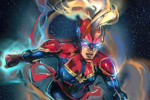 Captain Marvel 2020 Sketch Artwork Wallpaper