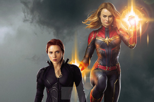 Captain Marvel And Black Widow