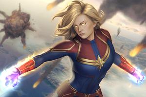 Captain Marvel Avengers Illustration 5k Wallpaper