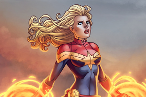 Captain Marvel Cartoon Art Wallpaper