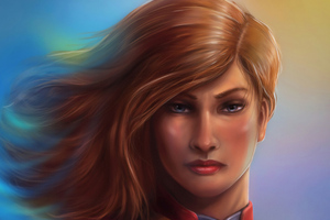 Captain Marvel Closeup Art