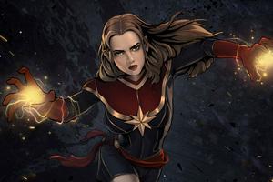 Captain Marvel Comic Artwork 4k