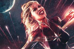 Captain Marvel Comics Art 4k Wallpaper