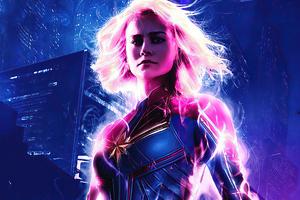 Captain Marvel Cyberpunk 4k
