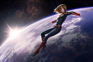 Captain Marvel Earth Frame 4k Wallpaper