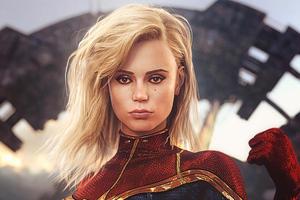 Captain Marvel Fantasy Woman Warrior 4k Wallpaper