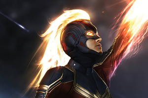 Captain Marvel Fire 4k