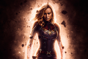 Captain Marvel Fire Wallpaper