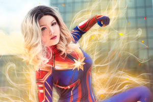 Captain Marvel Glowing