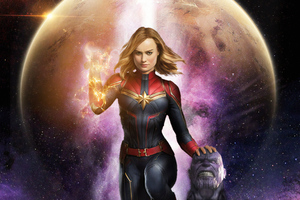 Captain Marvel Killed Thanos Wallpaper