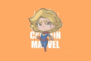 Captain Marvel Minimal Chibbi 4k Wallpaper
