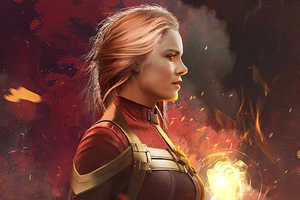 Captain Marvel The Burning Flame Wallpaper