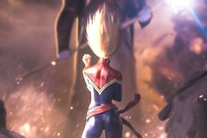 Captain Marvel V Thanos Wallpaper