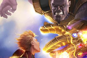 Captain Marvel Vs Thanos 5k Artwork Wallpaper