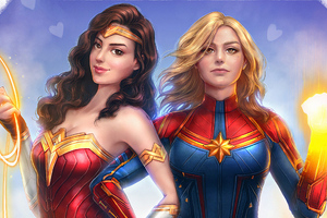 Captain Marvel Wonder Woman Wallpaper
