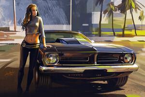 Car And Girl Artwork