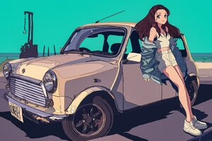 Car Beach Jacket Anime Wallpaper
