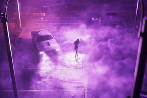 Car Drifting Girl Ballerina Synthwave 4k Wallpaper