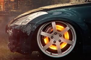 Car Glowing Wheel Disc Wallpaper