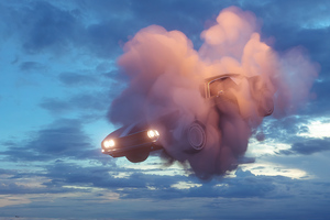 Car In Clouds Wallpaper