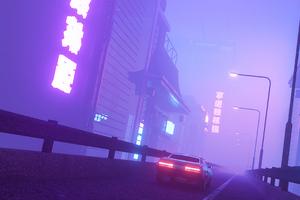 Car In Neon City 4k