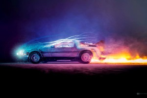 Car Lights Flame Back To The Future Wallpaper