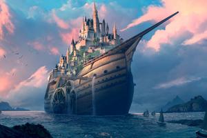 Castle On Ship 4k