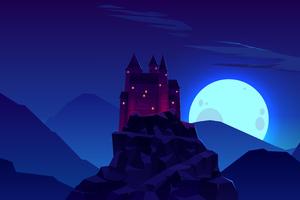 Castle Rock Night Minimal 4k Wallpaper