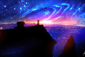 Cat On Magic Roof 4k Wallpaper