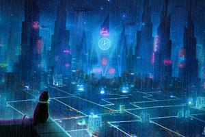 Cat Rain Dream Cyberpunk City 4k Wallpaper
