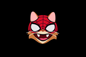 Cat Spiderman Minimal 4k Wallpaper