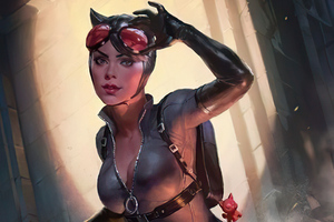 Cat Woman With Rope Comic Art
