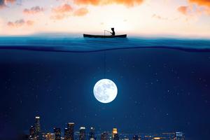 Catching The Moon In Ocean 5k Wallpaper