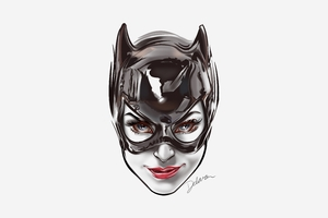 Catwoman Face Artwork 8k Wallpaper