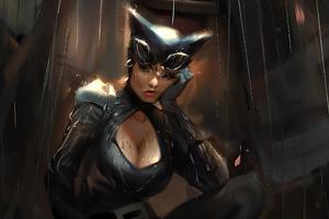 Catwoman In Rain Wallpaper