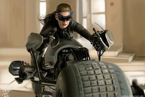 Catwoman On Bat Bike