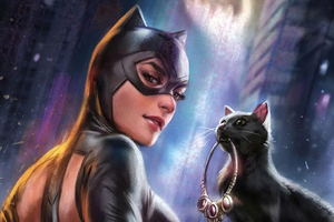 Catwoman With Cat Wallpaper
